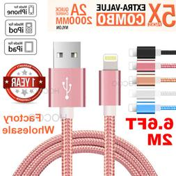 5PACK 2M Lightning Cable Nylon Heavy Metal For iPhone XR MAX