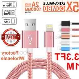 5Pack 3Ft Lightning Cable Heavy Duty For iPhone 6 7 8 XS Cha