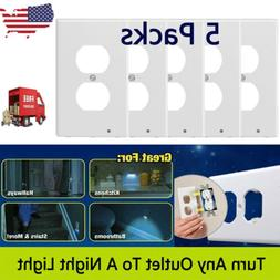 5Pack Plug Cover LED Night Angel Wall Outlet Face Hallway Be