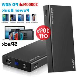 5Pack Wire Power Bank 20000mAh Backup Fast Portable Charger