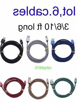 ✔6 Pack 6Ft for Lightning Cable Heavy Duty Iphone 8 7 6 x