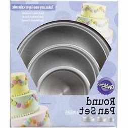 Aluminum Round Cake Pans, 3-Piece Set with 8-Inch, 6-Inch an