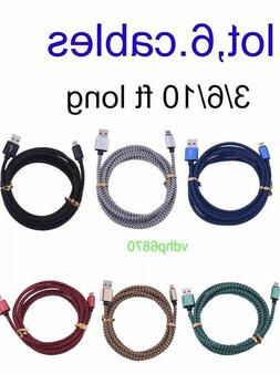 LOT6pack 3/6/10ft  Braided USB Charger Cable for Apple Light