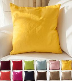 """TangDepot Cotton Solid Throw Pillow Covers, 18"""" x 18"""" , Yell"""