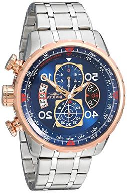 Invicta Men's Aviator Chronograph Silver-Tone Steel Blue Dia