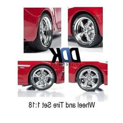 Auto World AWPP003 Modern 5 Spoke Wheel Pack Chrome Rim w/Go