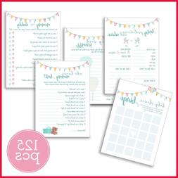 Baby Shower Games Pack Of 5 Different & Activities 25 Cards