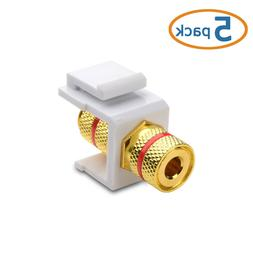 5-Pack Gold-Plated RCA Keystone Jack Inserts in White Cable Matters