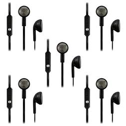 5 Pack Fenzer Black Headphones w/ Mic Earphones Earbuds Head
