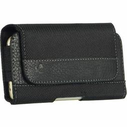 Black PU Leather Cell Phone Case Cover Pouch Belt Purse Pack
