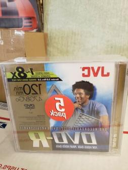 JVC Blank Recordable dvd-r 5 pack 47gb 1~8x 120 minutes Seal