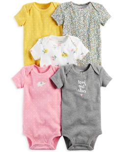 Carter's Baby Girls 5-Pack Short Sleeve Original Bodysuits S