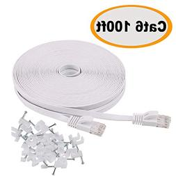 Cat 6 Ethernet Cable 100 ft Flat White, Slim Long Internet N