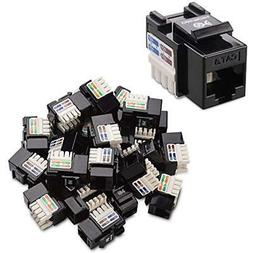 Cable Matters 25-Pack Cat6 RJ45 Keystone Jack in Black and K