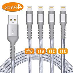 Azhizco Charger Cable for iPhone 6Ft 6Ft 3Ft 3Ft 4Pack Light