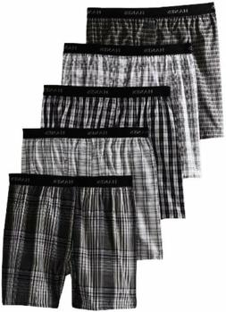 Hanes Classic Mens Yarn Dyed Exposed Waistband Boxer P5 - La