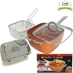 #1 Award Winning Copper Ceramic Square Non-Stick Ceramic Pan