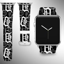 Detroit Tigers Apple Watch Band 38 40 42 44 mm Fabric Leathe