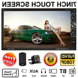 """Double 2 Din 7"""" Car Stereo DVD TV MP5 Player HD In Dash Blue"""