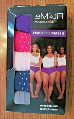 FIT FOR ME FOL~5 Pack Asst. SEAMLESS BRIEFS ~Size 10~New in