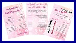 """Floral Bridal Shower Games 3 Pack 50 Sheets Each 5 X 7"""" He S"""