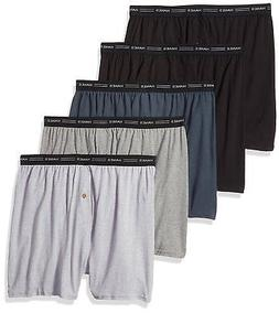 Hanes Men's 5-Pack Exposed Waistband Knit Boxers, Assorted,