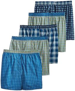 Hanes Men's 5-Pack Inside Exposed Waistband Woven Boxers, Fa