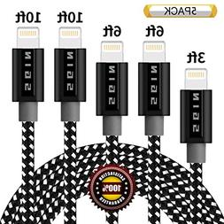 BULESK iPhone Cable 5Pack 3FT 6FT 6FT 10FT 10FT Nylon Braide