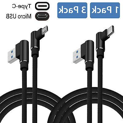 90 Degree Angle Fast Charge Type C Micro USB Cable Rapid Pow