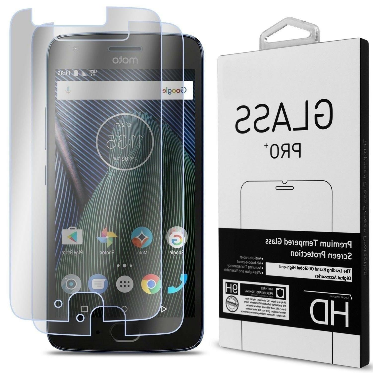 2 Pack of CoverON For Motorola Moto G5  Tempered Glass Scree