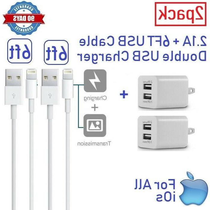 2pack 2x wall charger cube 6ft usb