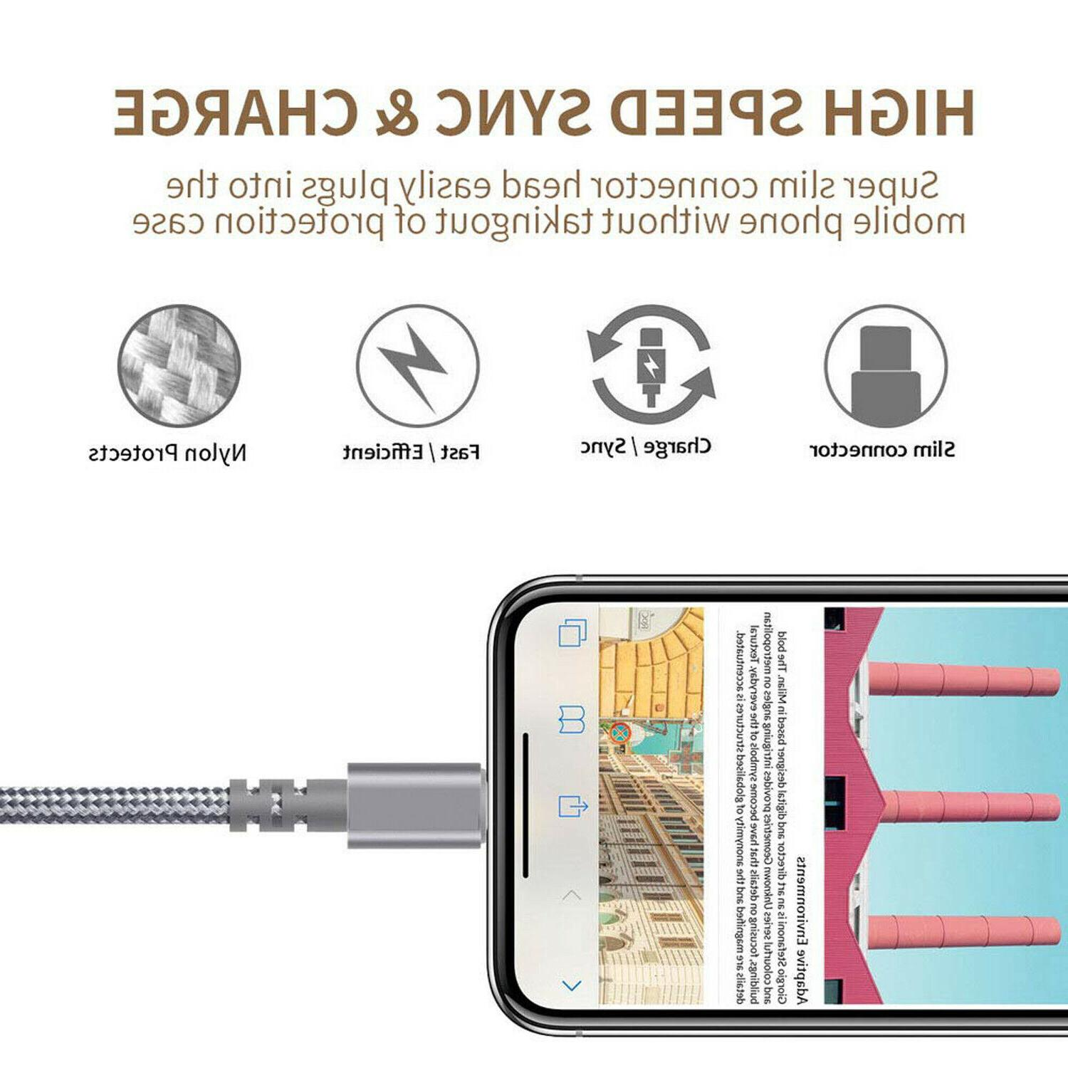 3 Pack 6 Charging Cord iPhone X 8 6 Heavy Charger USB New