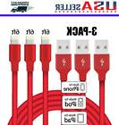 3-Pack 6 Ft Lightning Cable Heavy Duty iPhone 8 7 6 s plus C