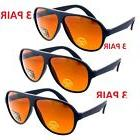 3 PAIR MENS AVIATOR BLUE BLOCKER SUNGLASSES FISHING UV AMBER