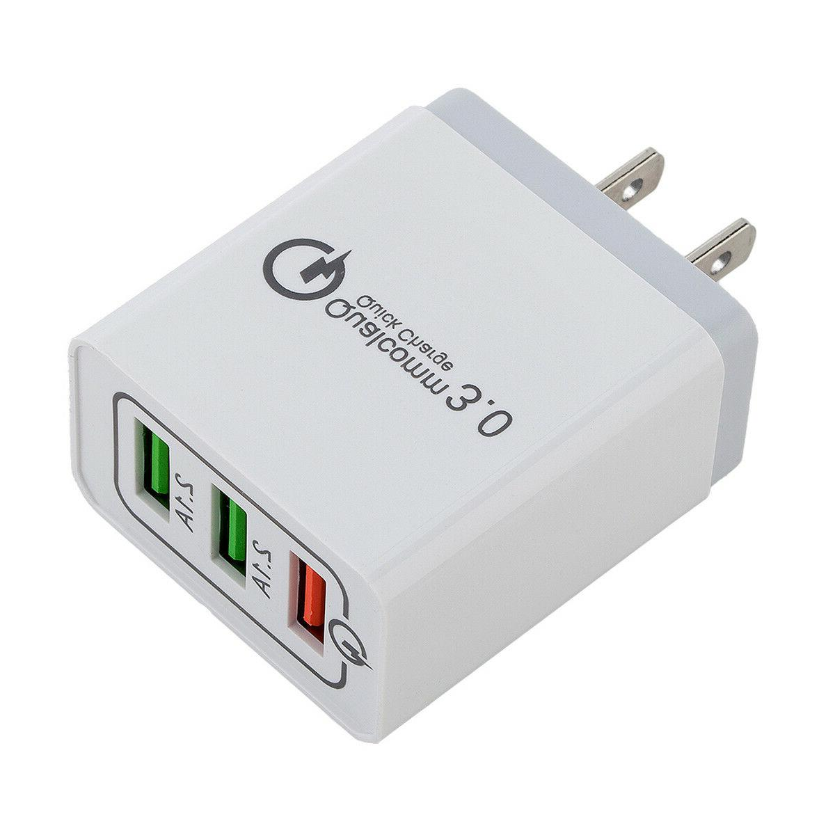 30W 3-Port USB Charger with Charge iPhone Samsung