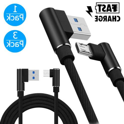 1/3-pack 3ft Braided 90Degree Right Angle Micro USB Fast Dat