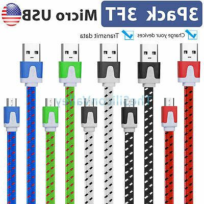 3x 1x Braided Micro USB Data Sync Charger Charging Cable Cor