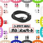 4-Pack USB-C Cable 6FT Long Charging Charger Cord 6 Foot For