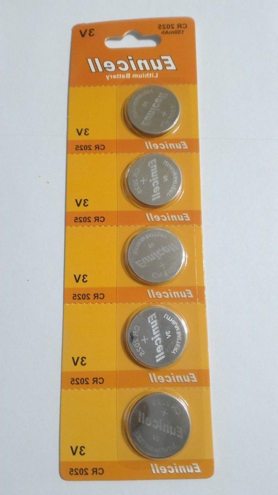 5 Pack CR2025 3v Lithium Batteries Coin Cell 150mAh Eunicell
