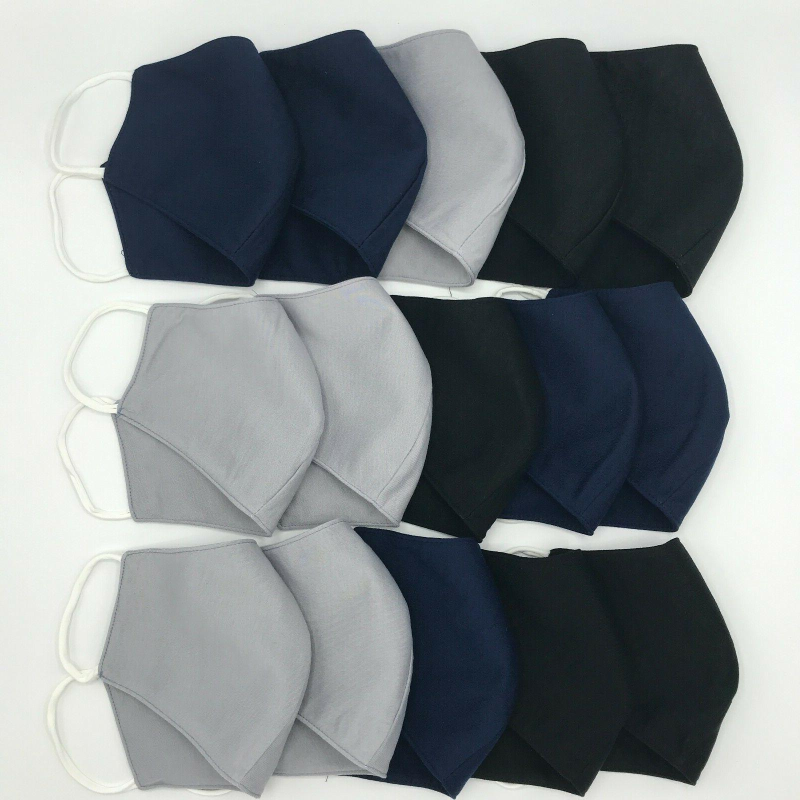 5 PACK Masks, SOLID Medium Fabric, 3-Fly Washable/Reusable