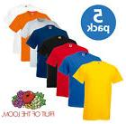 5 PACK MEN'S FRUIT OF THE LOOM PLAIN 100% COTTON BLANK T SHI
