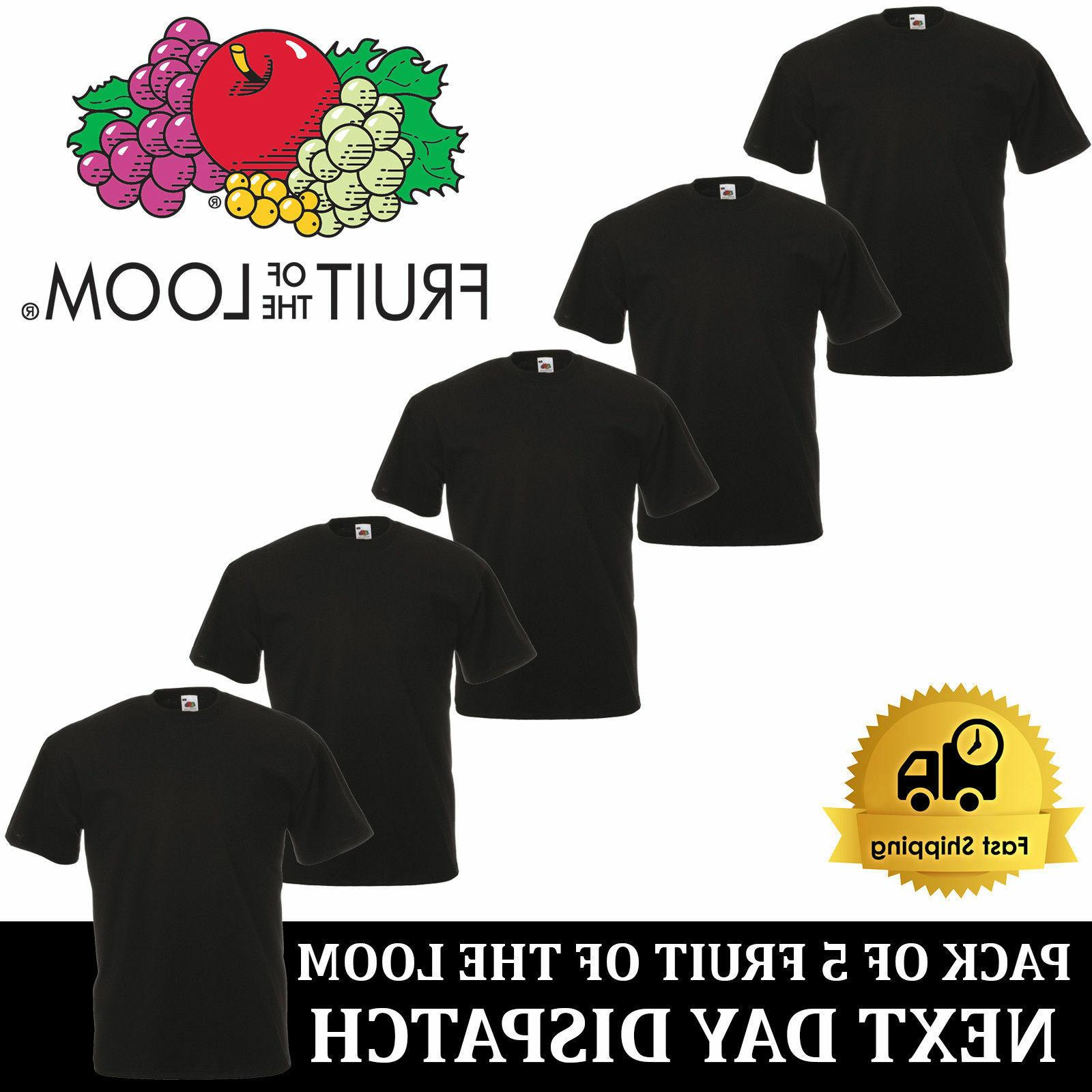 5 PACK OF LOOM Plain Mens Black T S XL T-Shirt Tee
