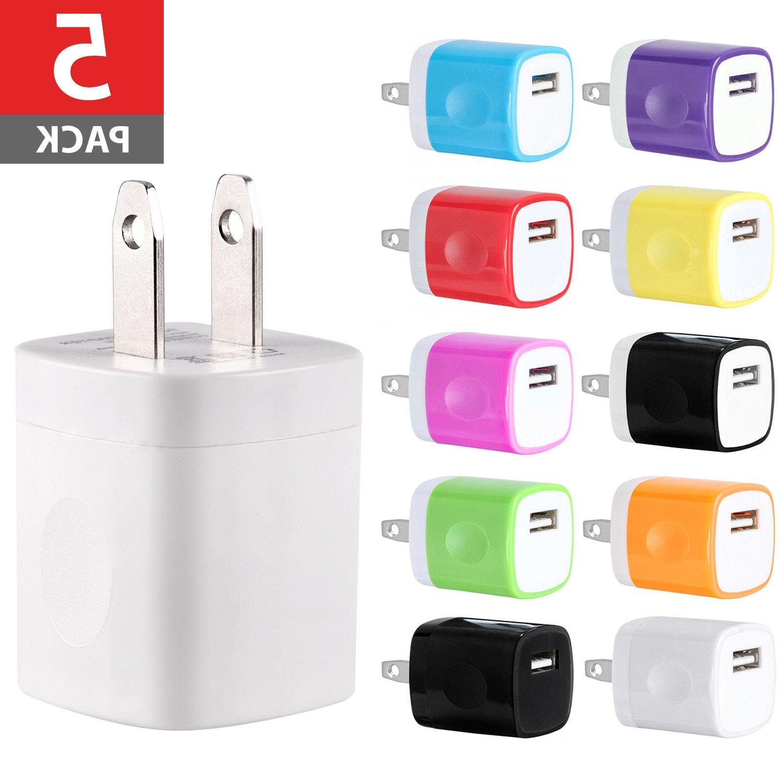 5-PACK USB Wall Charger AC Power Adapter US Plug FOR iPhone