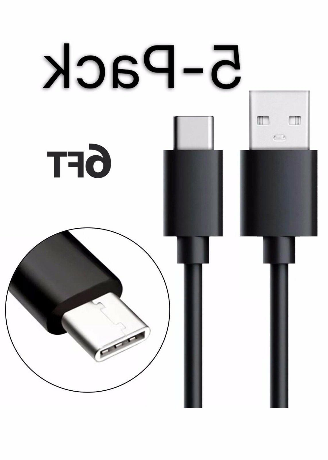 5Pack Black 6FT USB-C Type-C 3.1 Data Sync Charger Charging