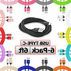 6-Pack USB Type C Cable 6FT Long Charging Charger For TYPE-C