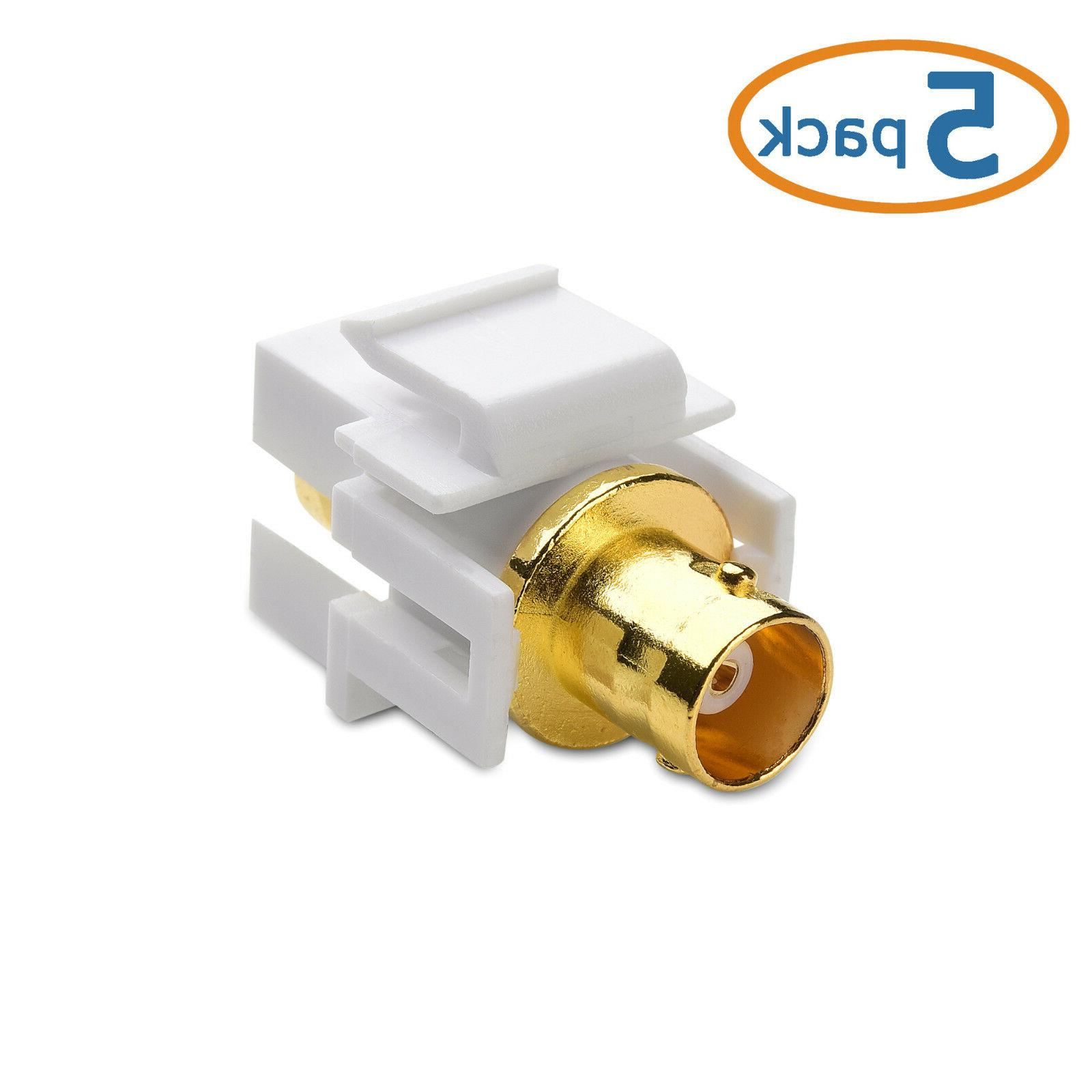 Cable Matters  Gold-Plated BNC Keystone Jack Inserts in Whit