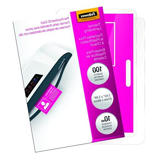"""Fellowes, Inc Laminated Business Pouches,Glossy,3-7/8""""X2-5/8"""