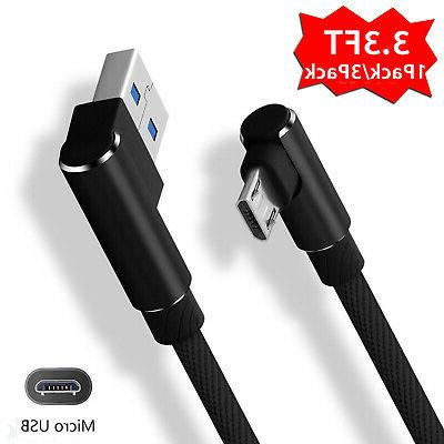Fast Data Sync Charger Micro USB Cable Braided 90 Degree Rig