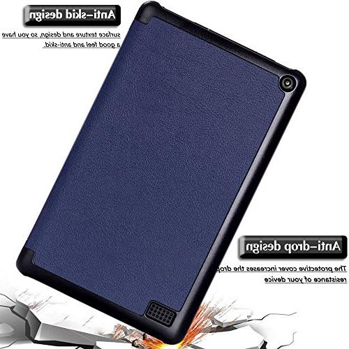 Gzerma Fire with Screen Protector, Flip Folio PU Leather Clear Film Amazon Edition,