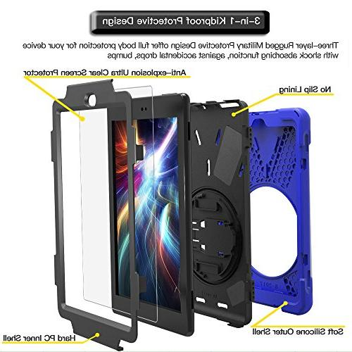 Gzerma Case Generation with Screen Protector, Hybrid Rugged 360 Heavy Duty Protection Kickstand, for HD8 2018 Blue